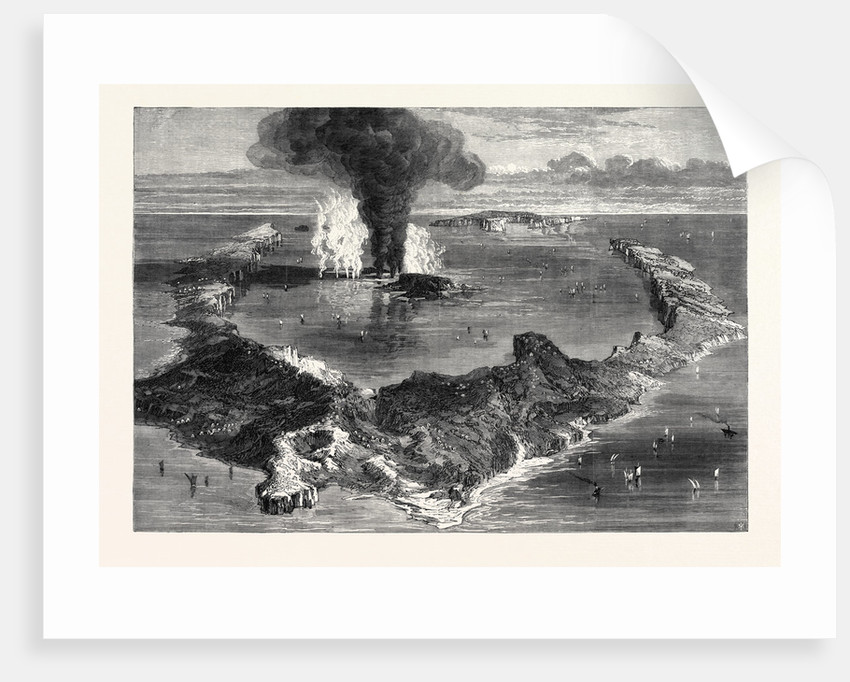 The Island of Santorin Greek Archipelago with the Submarine Volcano 1866 by Anonymous