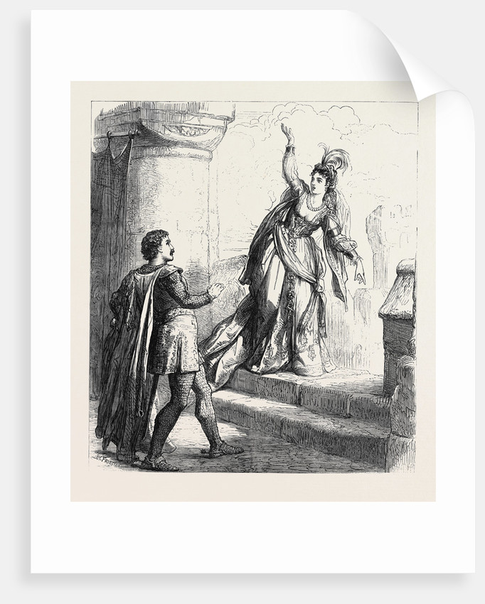 Scene from Rebecca at Drury Lane Theatre London 1871 by Anonymous