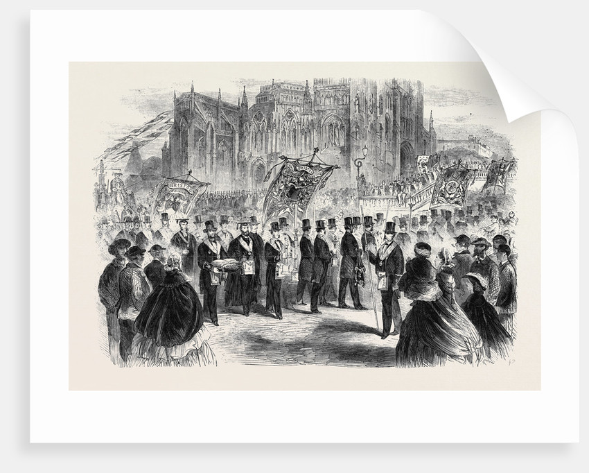 Masonic Demonstration at Bristol in Connection with the Restoration of St. Mary Redcliff Church: Arrival of the Procession at the Church by Anonymous
