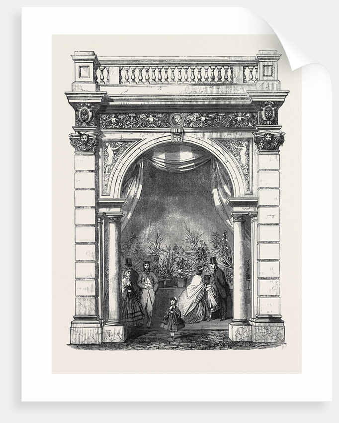 Royal Horticultural Society's Gardens South Kensington: One of the Arches of the Northern Arcade Finished to Show the Proposed Style of Decoration by Anonymous