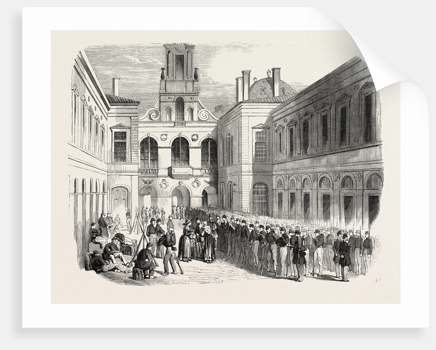 Inspection, in the Courtyard of the Townhall of Lyon, the Young Soldiers Sent to Crimea. 1855. France by Anonymous