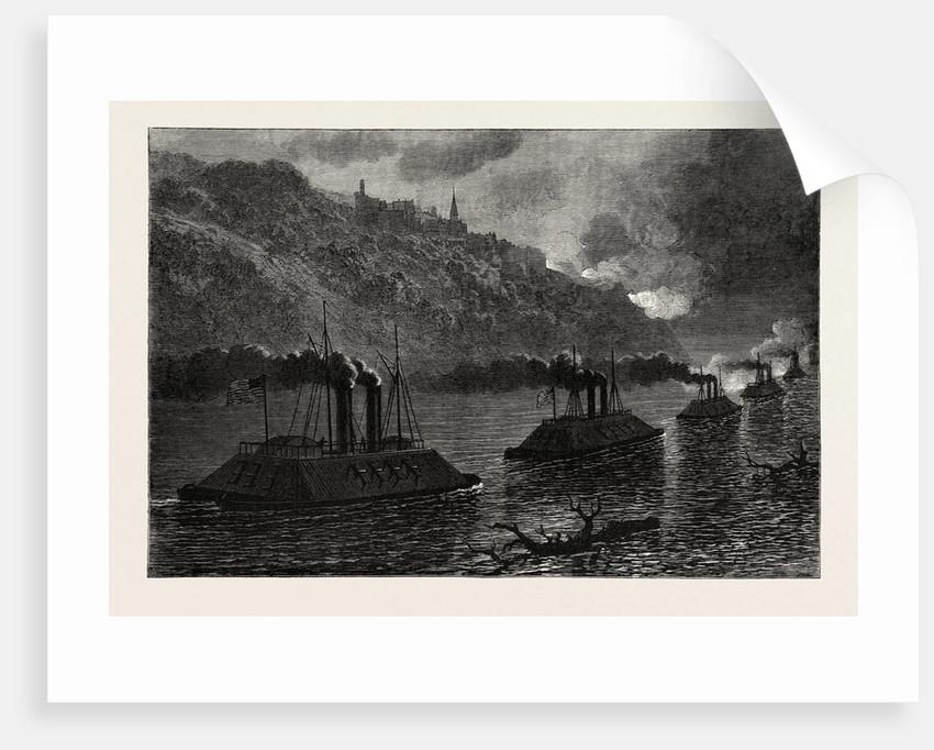 Gunboats Passing Vicksburg, American Civil War by Anonymous