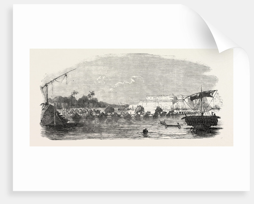 Line of Railway from Calcutta to Delhi: Fortress of Allahabad, Bridge of Boats Across the Jumna, India by Anonymous