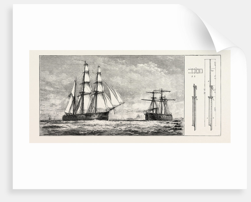 Admiral Schomberg's Proposed New Rig for Men-of-War: A, Lower Mast. B, Trysail Mast. C, Lower Yard. D, Lower Topsail Yard. E, Upper Topsail Yard. F, Topmast Fidded Abaft. G, Plan of Trussel Trees Enlarged. H, H, Fids of Top and Trysail Masts. by Anonymous