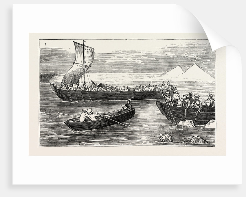 The Russian Expedition to Khiva: Passing the River Amu Darya by Russian Troops by Anonymous