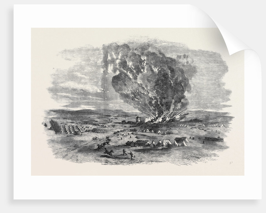 The Explosion of the Right Siege Train, Near Inkerman Mill by Anonymous