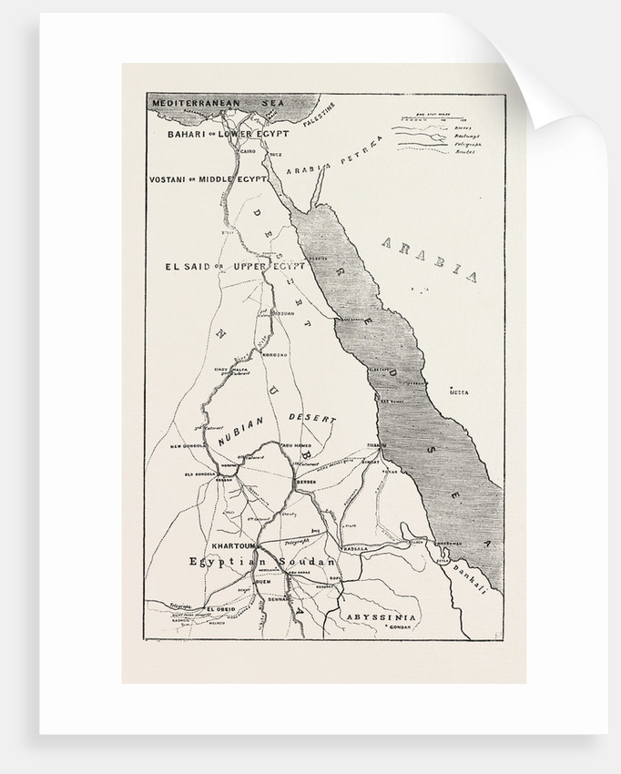 Map Showing Upper Egypt And The Seat Of The Revolt The Routes Across