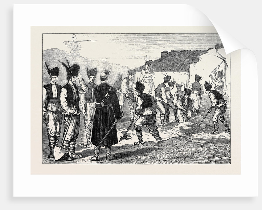 The War in the East: Romanian Militia Throwing Up Earthworks at Giurgevo by Anonymous