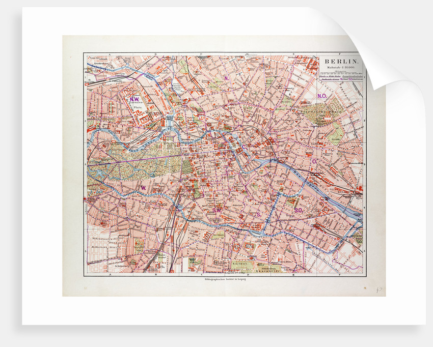 Map of Berlin Germany 1899 posters & prints by Anonymous