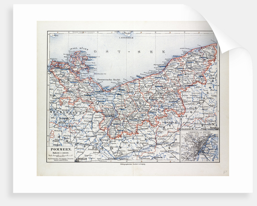 Map of Pommern Mecklenburg-Vorpommern (Germany) and North West Poland 1899 by Anonymous