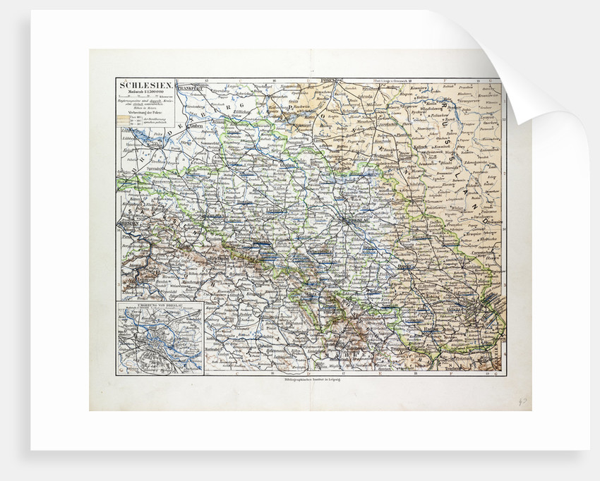 Map of Silesia Poland 1899 by Anonymous
