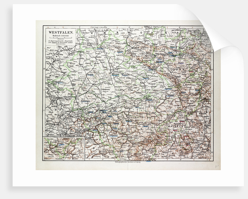 Map of Nordrhein-Westfalen Germany 1899 by Anonymous