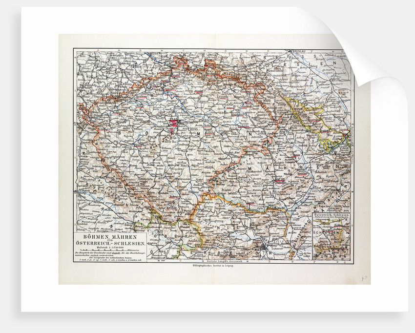 Map of Bohemia (Czech Republic) 1899 by Anonymous