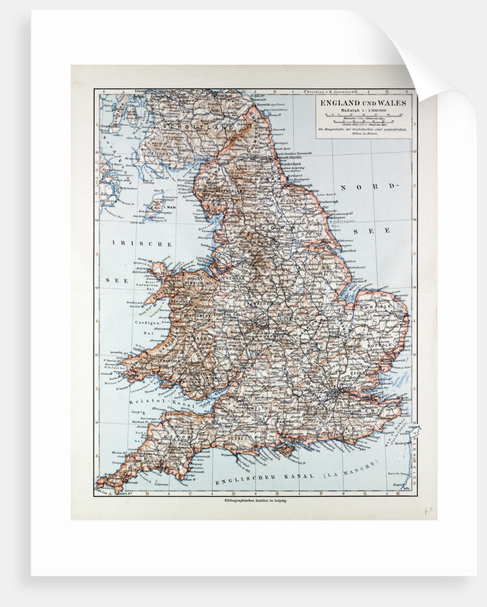 Map Of England 850.Map Of England And Wales 1899