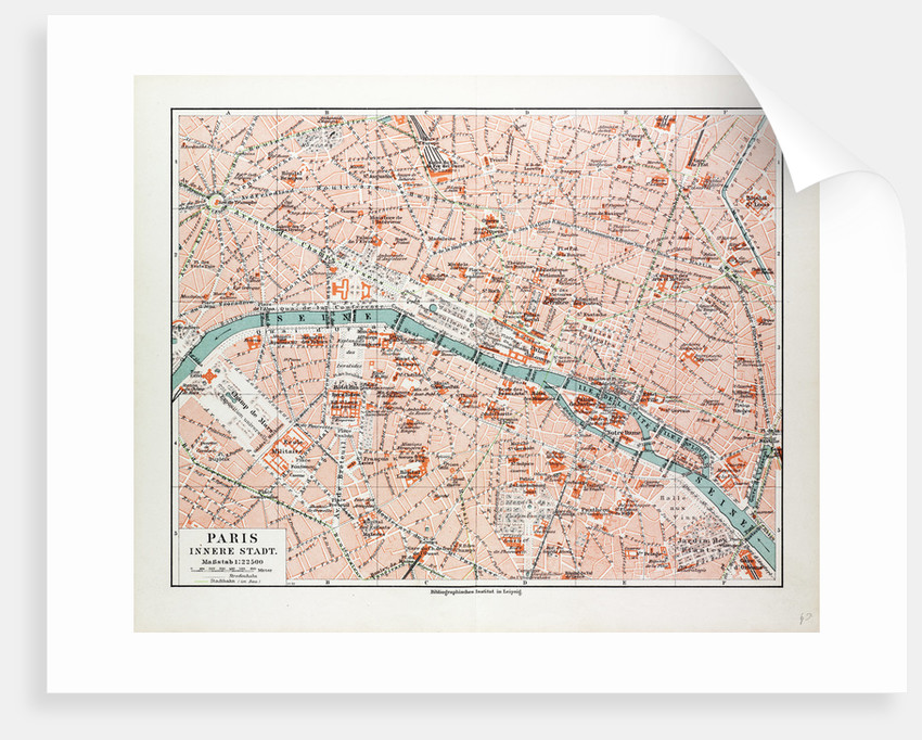 Map of the Centre of Paris France 1899 by Anonymous