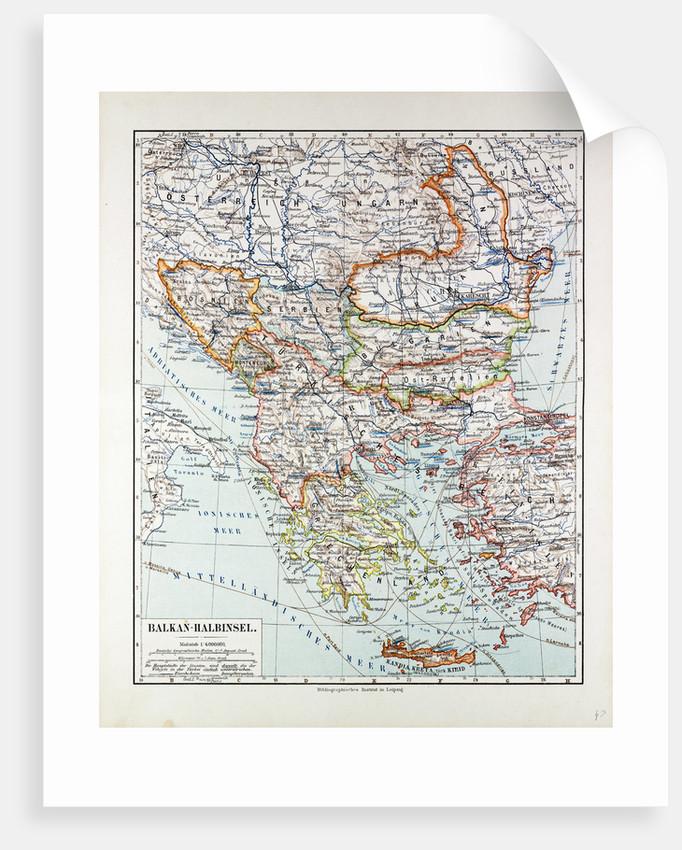 Map of Austria-Hungary Greece Serbia Bosnia and Herzegovina Romania Bulgaria Macedonia Montenegro and Crete Albania Bulgaria 1899 by Anonymous