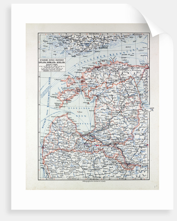 Map of Estland Letland Lithuania 1899 by Anonymous