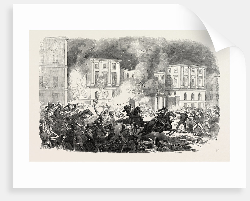 The Insurrection in Spain: The Insurgents Setting Fire to the Palace of Queen Christina at Madrid 1854 by Anonymous