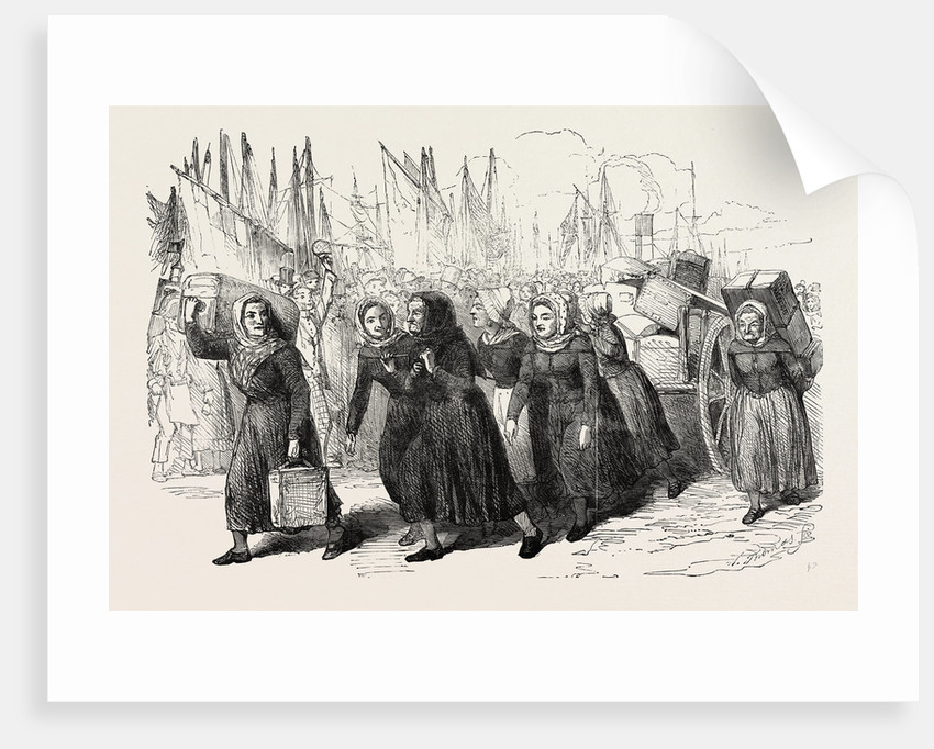 Boulogne Fishwomen Carrying the Luggage of the Nurses for the East 1854 by Anonymous