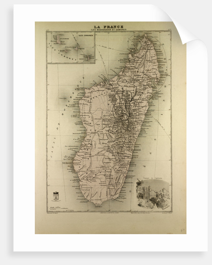Map of Madagascar and Comoros 1896 by Anonymous