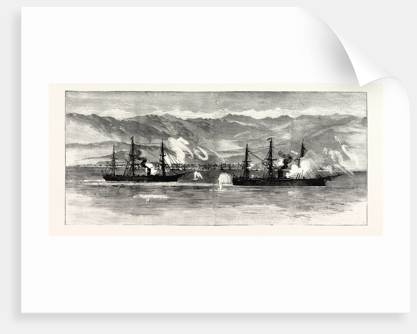 The Civil War in Chile: Insurgent War Ships Exchanging Shots with the Town of Iquique by Anonymous