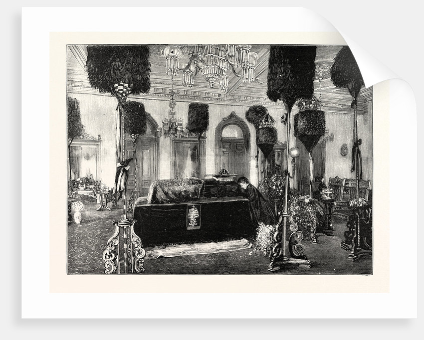 The Queen Dowager Kapiolani Kneeling Beside Her Husband's Coffin in the Palace at Honolulu by Anonymous
