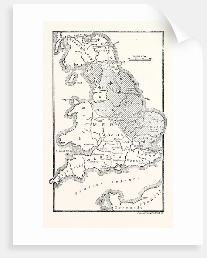 Map Of England 850.Map Of England Showing The Anglo Saxon Kingdoms And Danish Districts