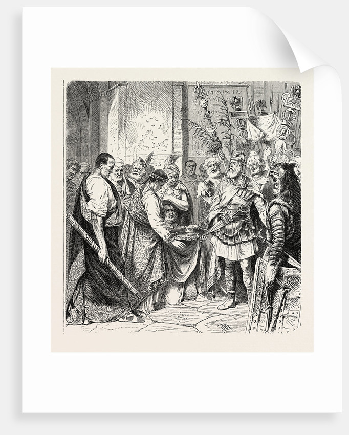Augustulus the Last Roman Emperor Surrenders to Odoacer. by Anonymous