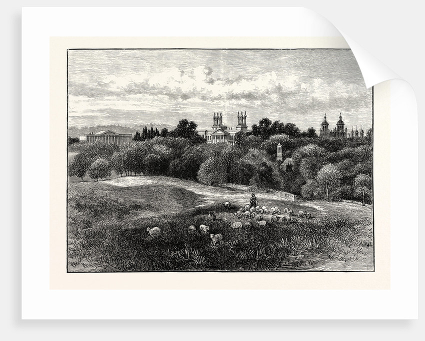 Edinburgh: Watson's Orphans' and Stewart's Hospitals from Drumsheugh Grounds 1859 by Anonymous