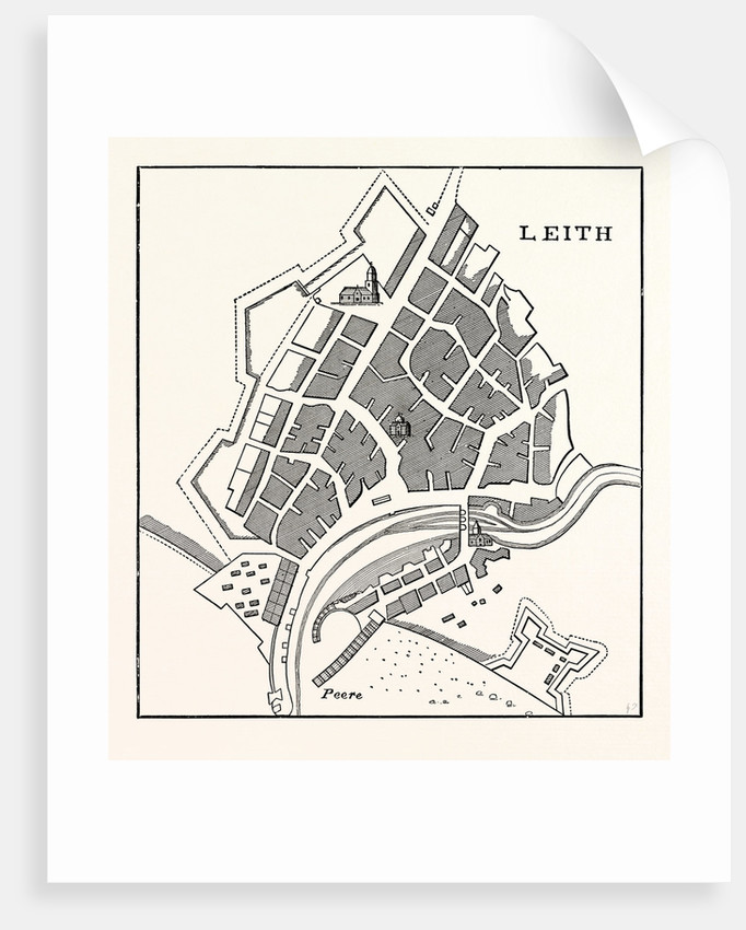 Edinburgh: Plan of Leith Showing the Eastern Fortifications. (Facsimile after Greenville Collins' Great Britain's Coasting Pilot London 1693.) by Anonymous