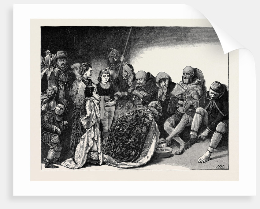 Royal Humility: Washing Beggars' Feet on Maundy Thursday by Anonymous