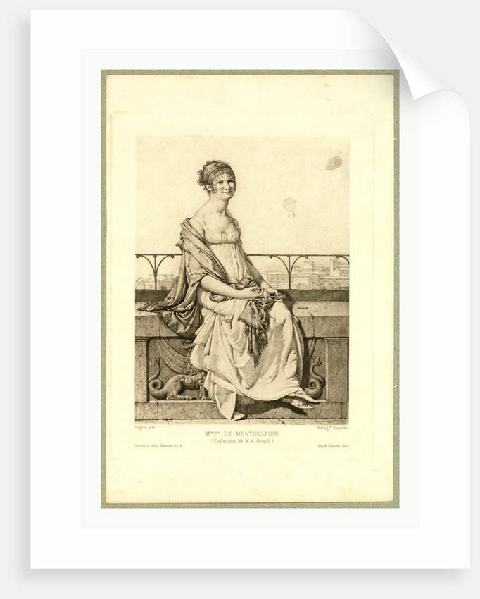 Full-Length Portrait of Adélaide Montgolfier, Seated on a Wall with Balloons in the Background. by Anonymous