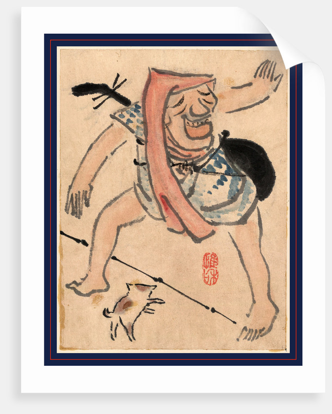 Caricature of Musician or Actor Dancing with a Cat at His Feet by Anonymous