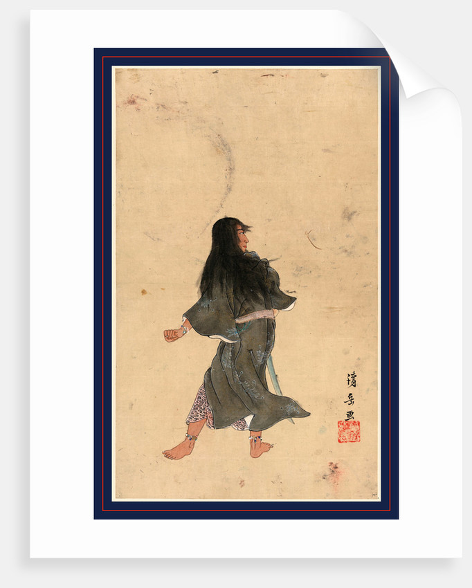 Warrior or Actor with Long Hair and Bracelets Around Wrist and Ankles Full-Length Seen from behind, Holding a Sword by Anonymous