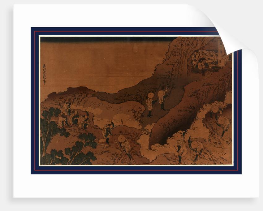 Shonin tozan, Mountain climbing pilgrims by Katsushika Hokusai
