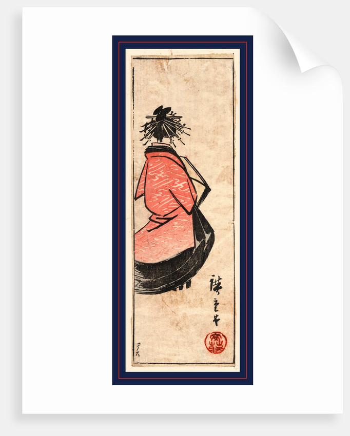 Ushiro muki oiran zu, Oiran high class courtesan by Utagawa Hiroshige