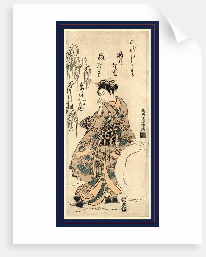 Yukidama o tsukuru musume, Young lady making a snowball by Torii Kiyomitsu
