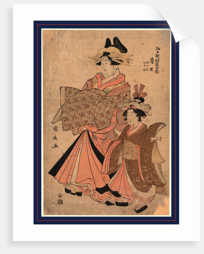 Edocho echizenya uchi morokoshi, The courtesan Morokoshi of the house of Ichizen on Edocho by Utagawa Kuninaga