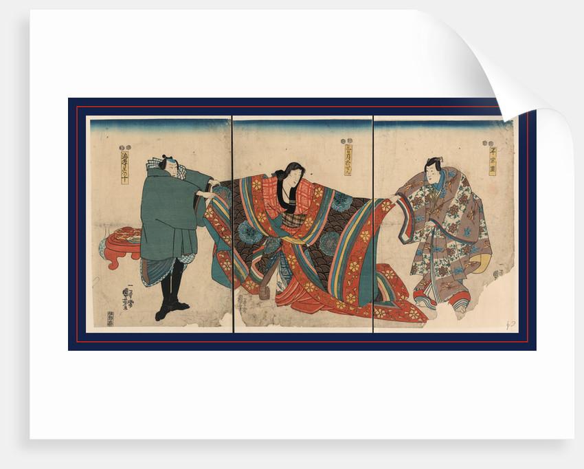 Taira no munemori mikazuki osen ebizako no ju, Actors in the roles of Taira no Munemori, Mikazuki Osen, and Ebizako no Ju by Utagawa Kuniyoshi