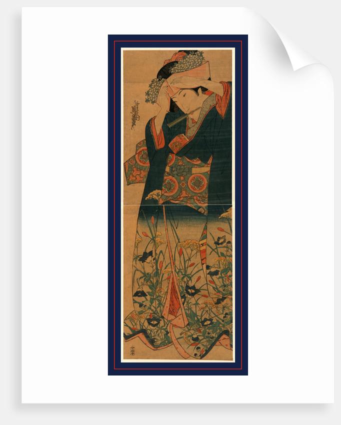 Ageboshi o naosu musume, Young woman adjusting her hat by Ikeda Eisen