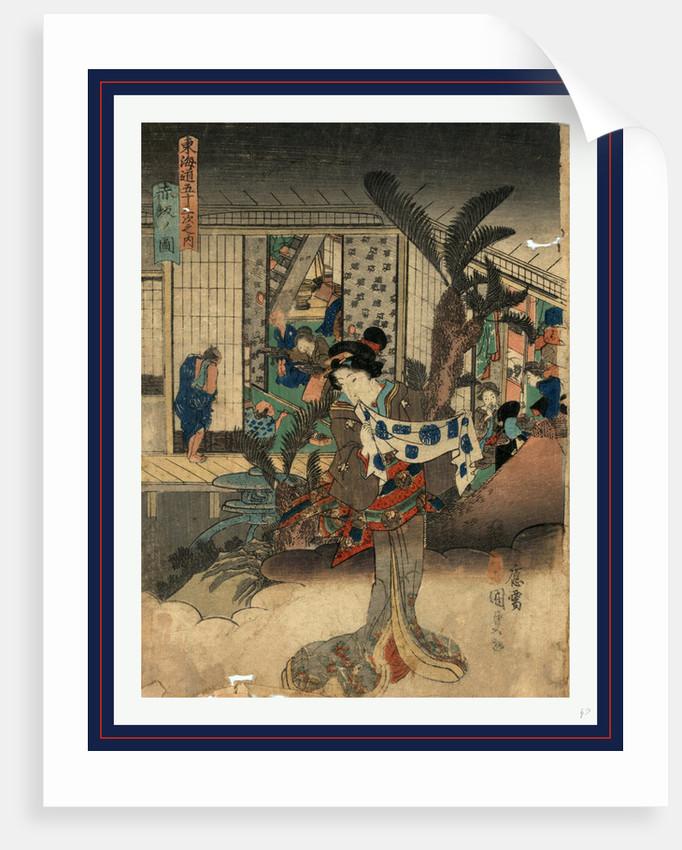 Akasaka no zu, View of Akasaka by Utagawa Toyokuni