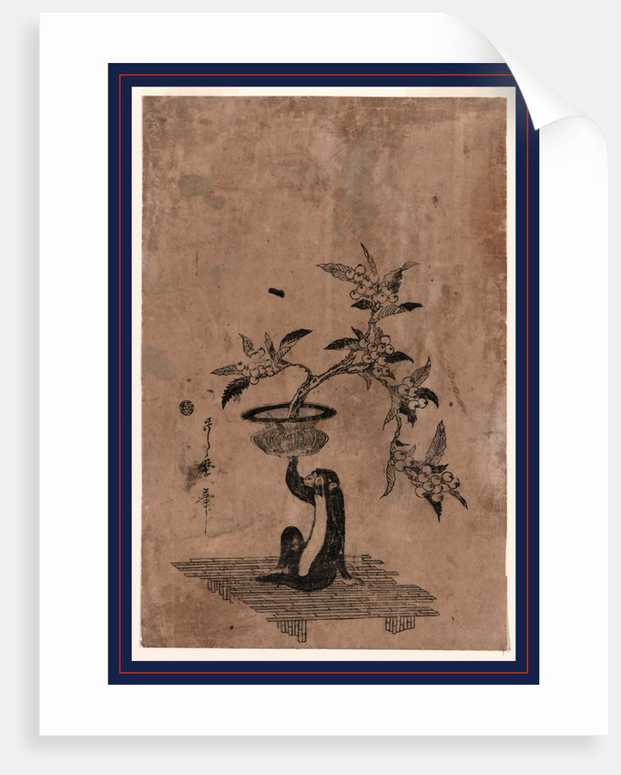 Saru no hanaike ni biwa, Monkey holding a potted loquat by Utamaro II