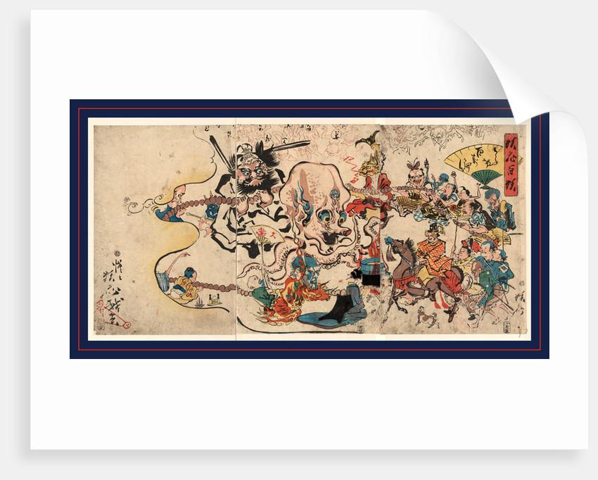 Doke hyakumanben, A comic Buddhist rosary procession by Kawanabe Gyosai