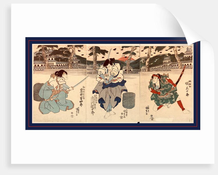 Seki sanjuro ichikawa danjuro iwai hanshiro, The actors Seki Sanjuro, Ichikawa Danjuro, and Iwai Hanshiro by Utagawa Toyokuni