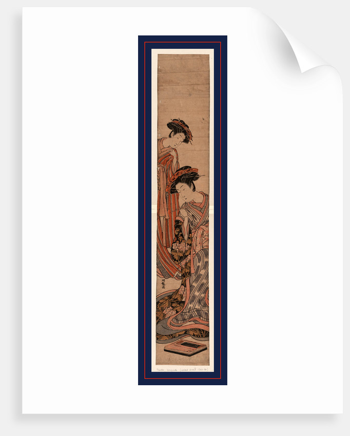 Yujo to sinzou, A courtesan and her apprentice (Shinzo) by Isoda Koryusai