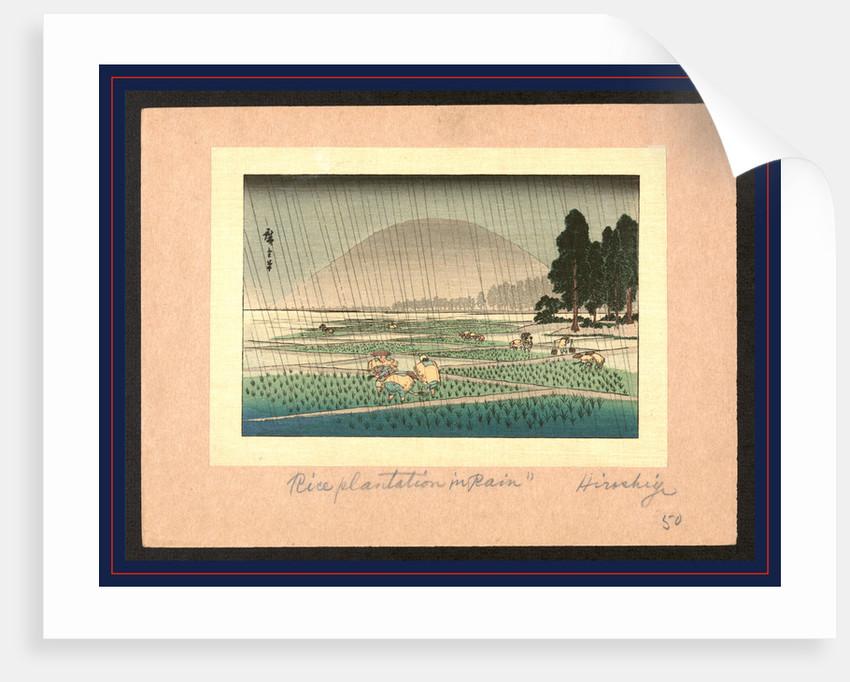Fukeiga, Rice planting in rain by Ando Hiroshige