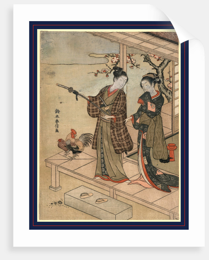 Engawa no wakashu to onna, A young dandy and a woman on a veranda by Suzuki Harunobu
