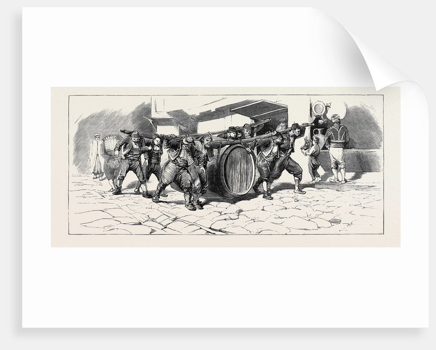 Round the World Yachting in the Ceylon; Constantinople: Porters Carrying a Cask by Anonymous