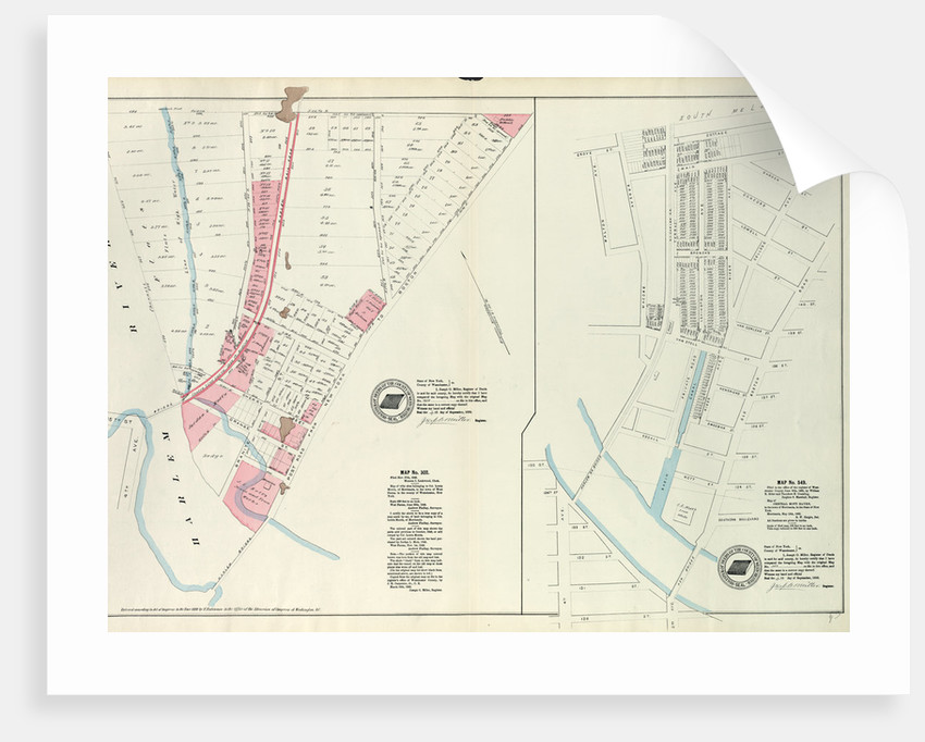 Map Of New York Harlem.Map No 302 Bounded By Harlem River 149th Street And Post Road From New York To Boston Map No 549 Bounded By Grove St Cottage St Villa Place