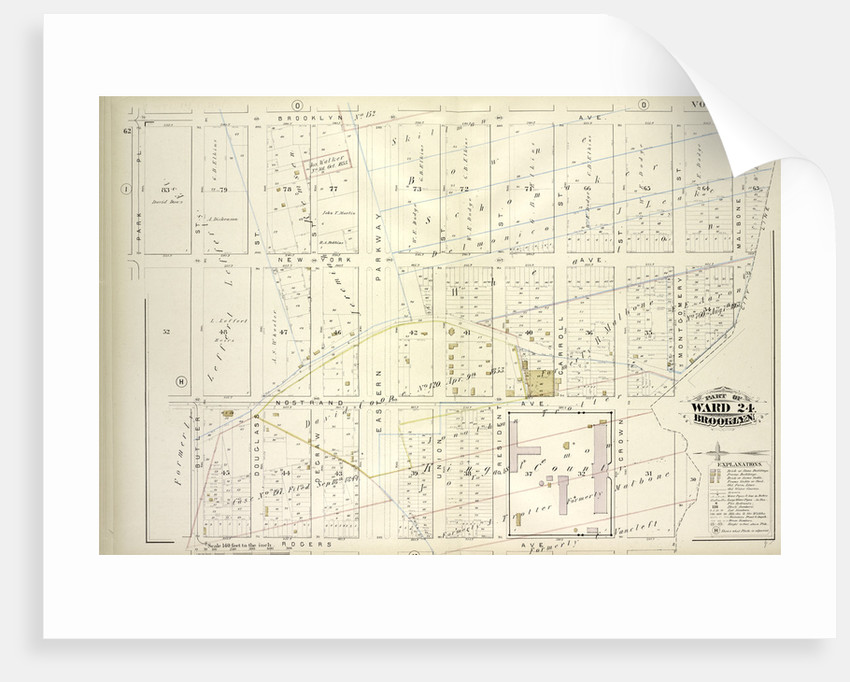 Map bound by Brooklyn Ave., City Line, Rogers Ave., Butler St., Park PL; Including New York Ave., Nostrand Ave., Douglass St., Degraw St., Eastern Parkway, Union St., President St., Carroll St., Crown St., Montgomery St., Malbone St., New York by Anonymous